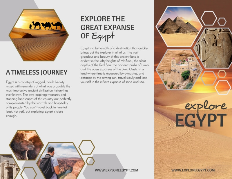 Travel Egypt Tri-Fold Brochure Template Preview 2