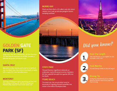 Travel California Tri-Fold Brochure Template Preview 2