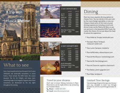 Travel Paris Tri-Fold Brochure Template Preview 2