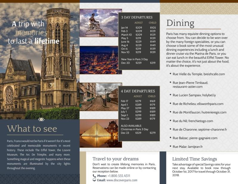 Travel Paris Tri-Fold Brochure Template Preview 3
