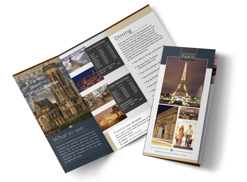 Travel Paris Tri-Fold Brochure Template Preview 1