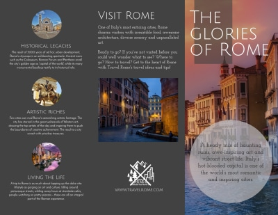 Travel Rome Tri-Fold Brochure Template Preview 1