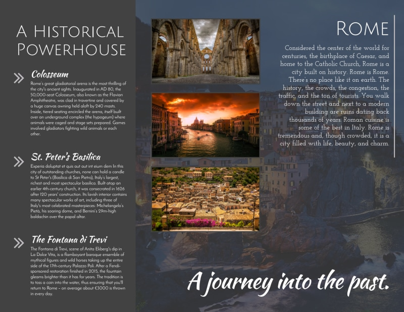 Travel Rome Tri-Fold Brochure Template Preview 3