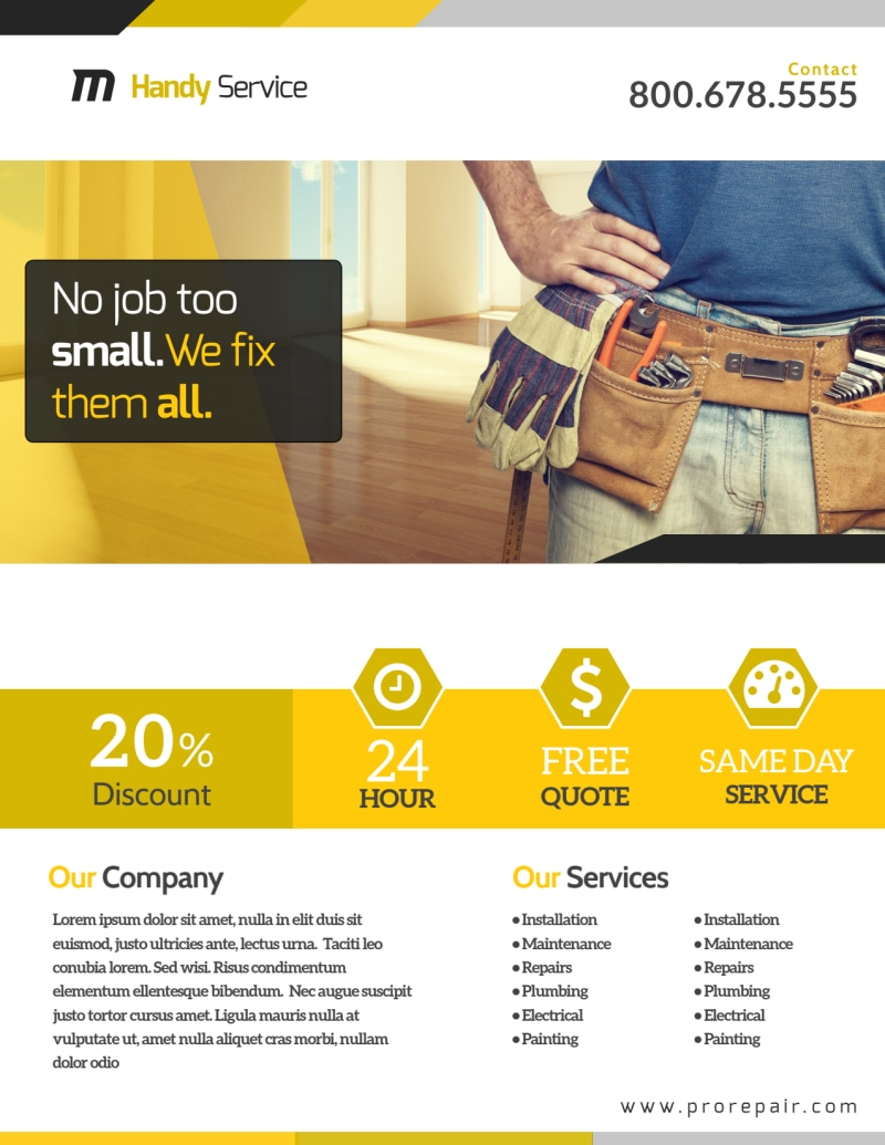 Professional Handyman Advertising Flyer Template Preview 2
