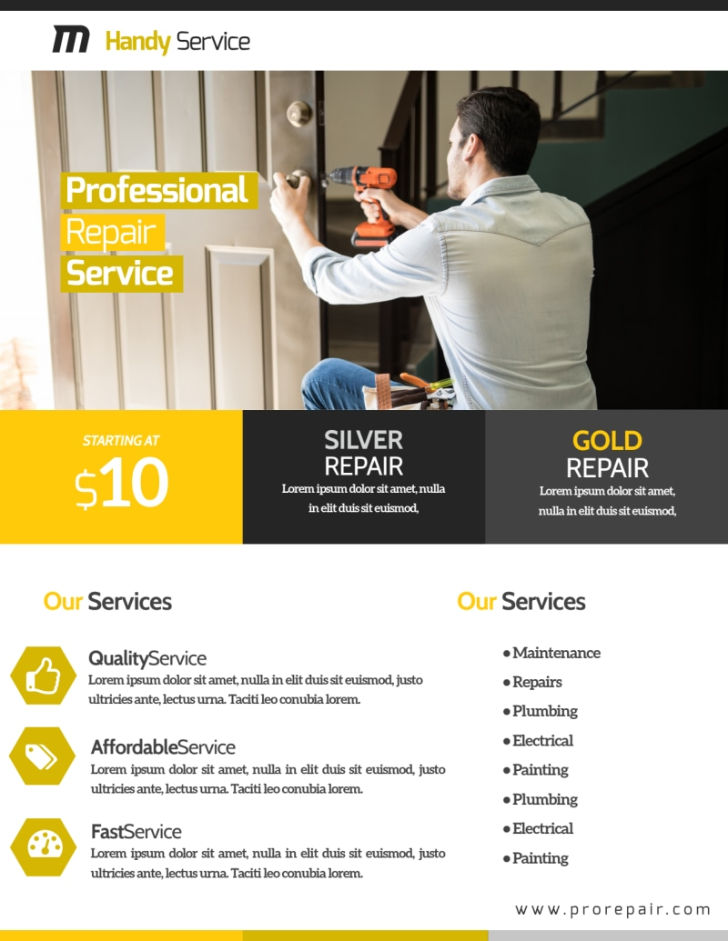 Professional Handyman Advertising Flyer Template Preview 3