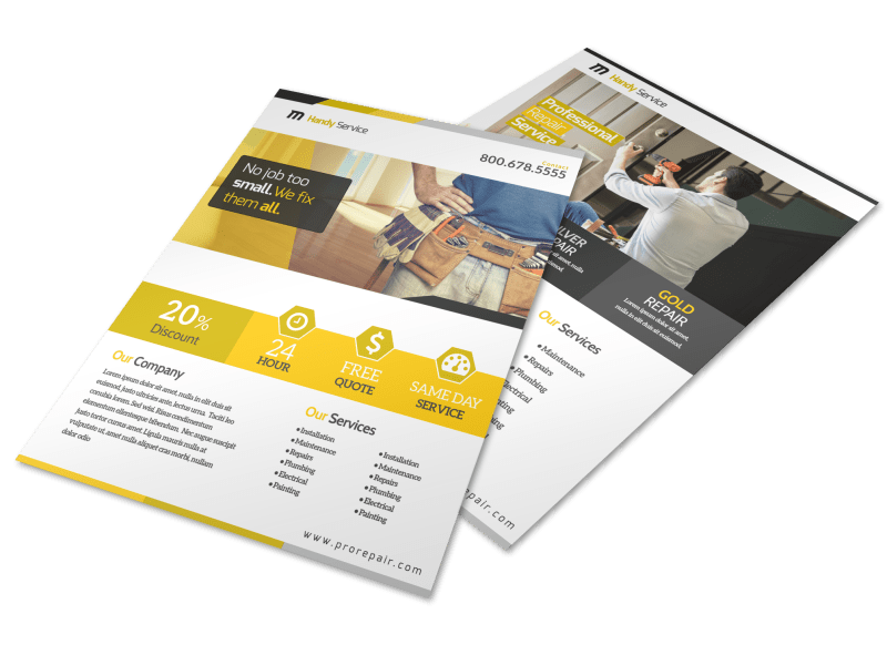 Professional Handyman Advertising Flyer Template Preview 1
