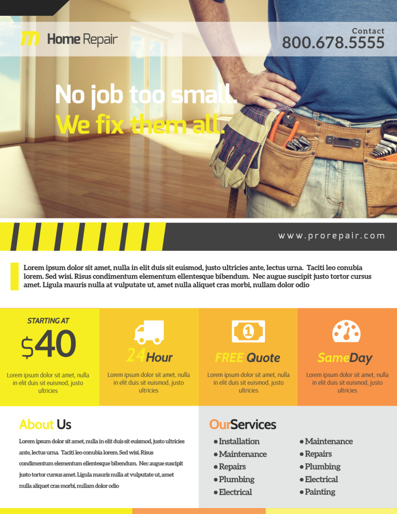 Handyman Home Improvement Flyer Template Preview 2