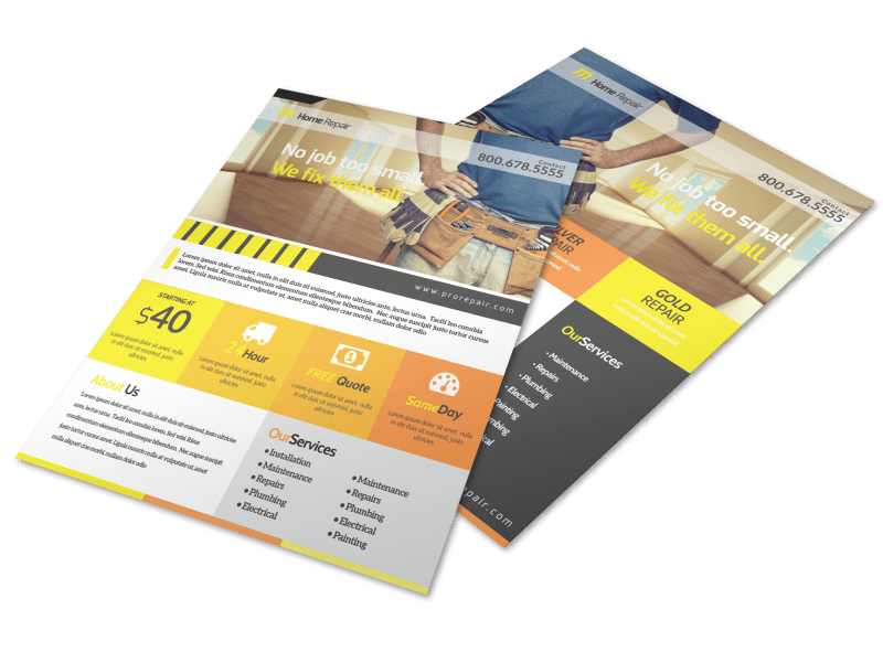 Handyman Home Improvement Flyer Template Preview 1