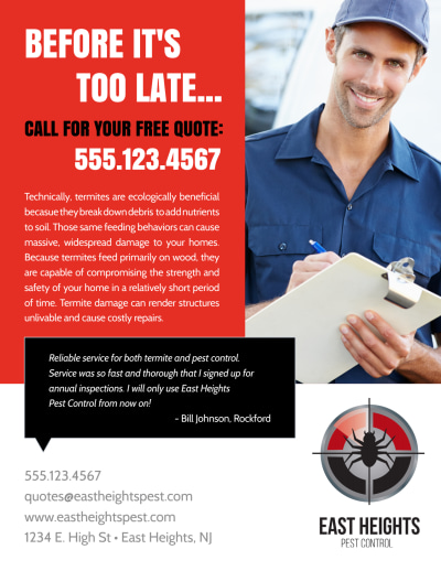 Free Quote Pest Control Flyer Template Preview 2