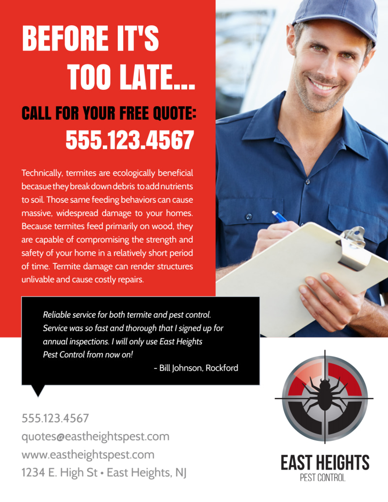 Free Quote Pest Control Flyer Template Preview 3