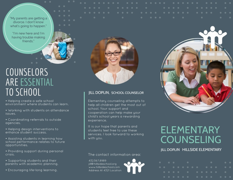 Elementary School Counseling Tri-Fold Brochure Template Preview 2