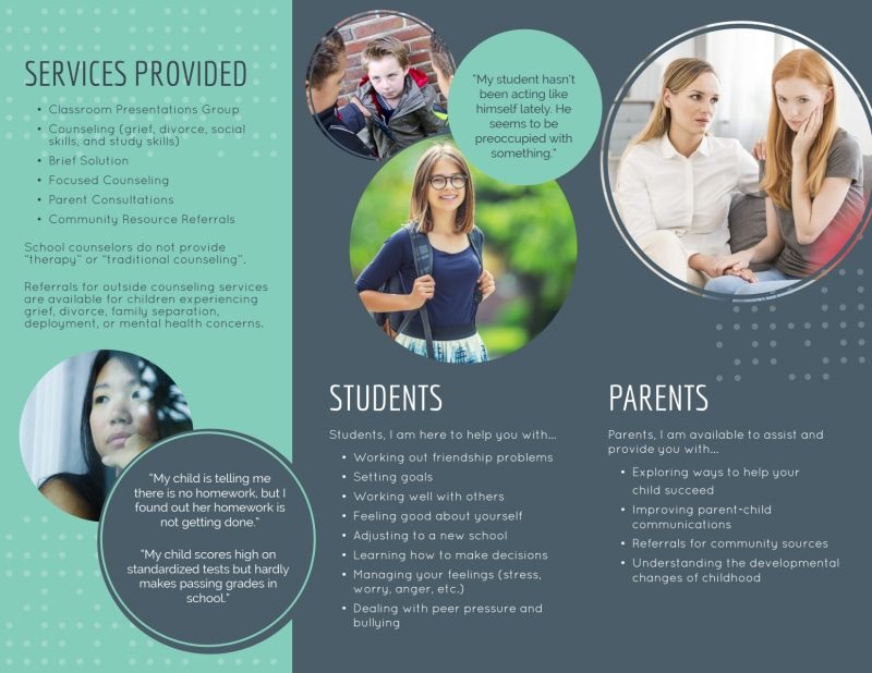 Elementary School Counseling Tri-Fold Brochure Template Preview 3