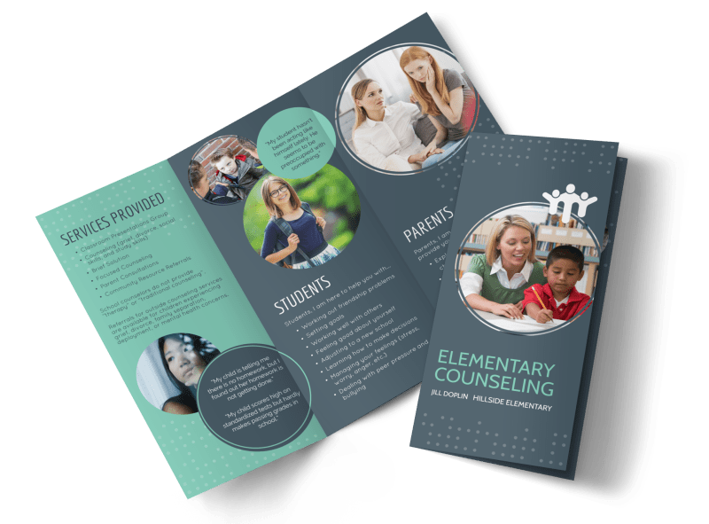 Elementary School Counseling Tri-Fold Brochure Template Preview 1