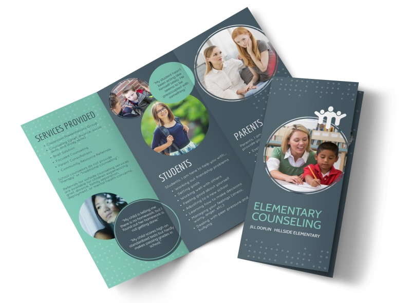 elementary school counseling tri fold brochure template