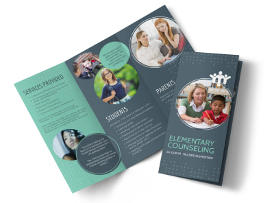 Elementary School Counseling Tri-Fold Brochure Template preview