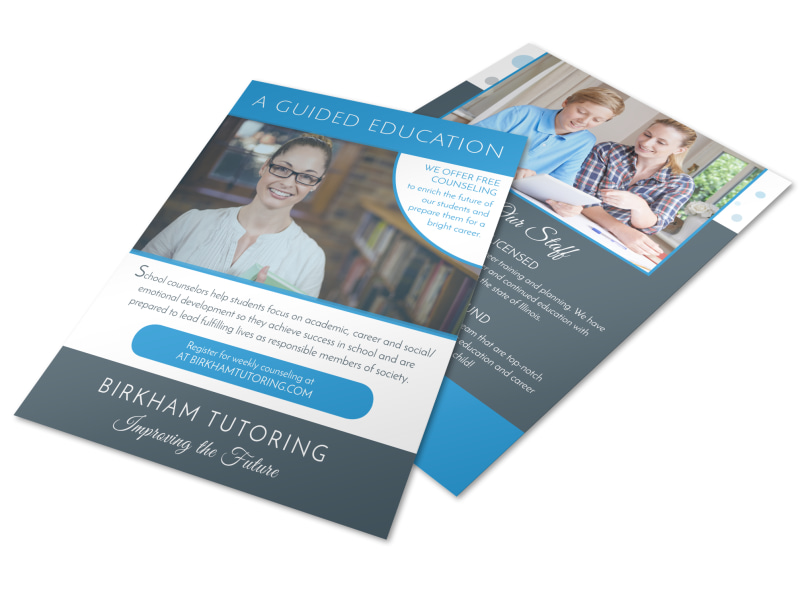 Guided Education School Counseling Flyer Template