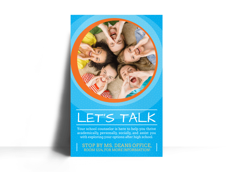 let u0026 39 s talk school counseling poster template
