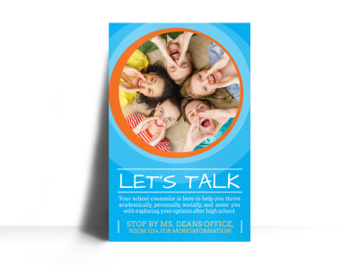 Let's Talk School Counseling Poster Template' preview