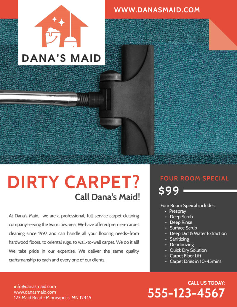 Dana Carpet Cleaning Flyer Template Preview 2