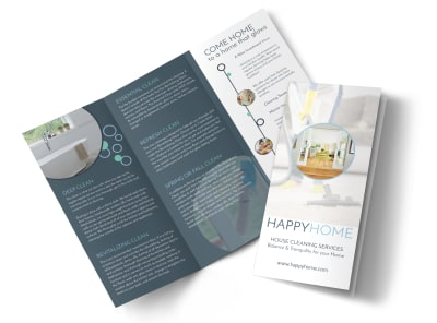 Cleaning House Tri-Fold Brochure Template preview