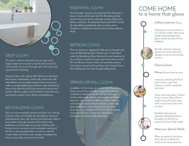 Cleaning House Tri-Fold Brochure Template Preview 3