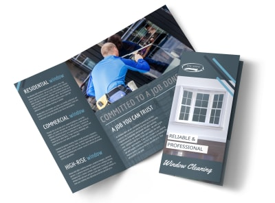 Reliable Window Cleaning Tri-Fold Brochure Template preview