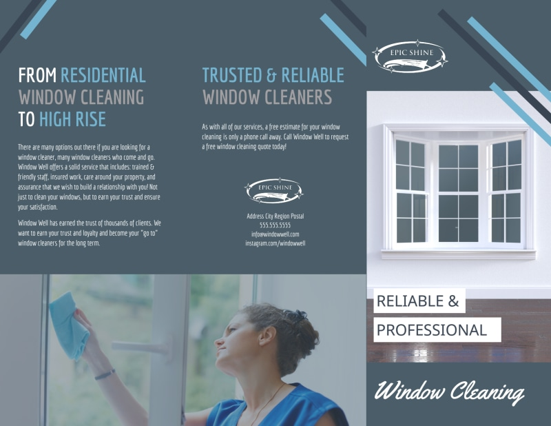 Reliable Window Cleaning Tri-Fold Brochure Template Preview 2