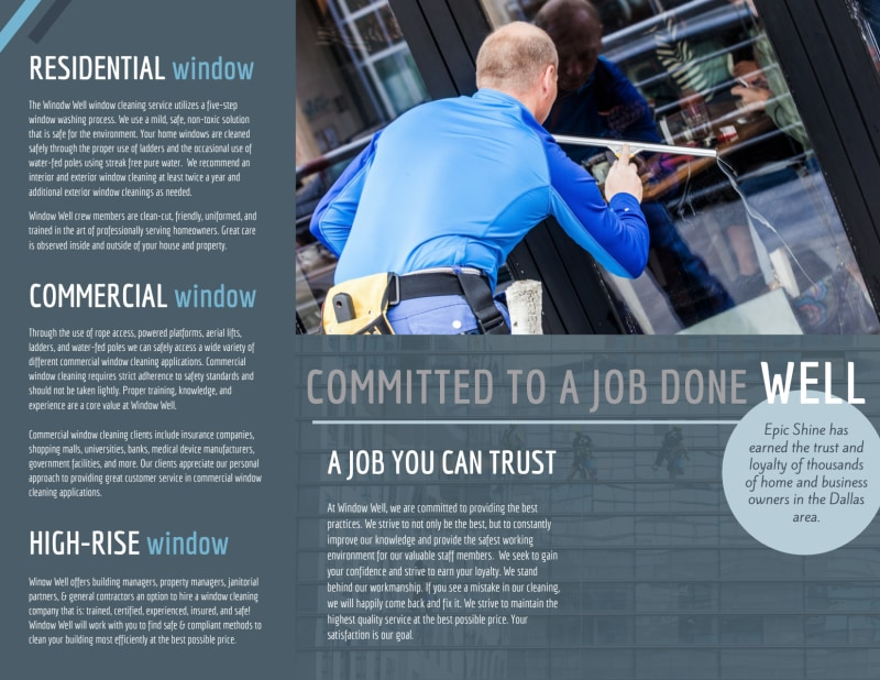 Reliable Window Cleaning Tri-Fold Brochure Template Preview 3