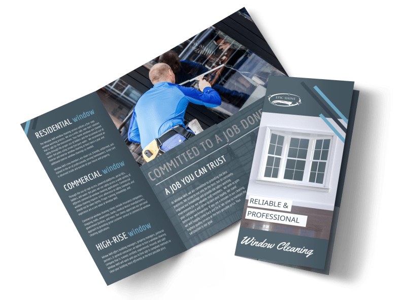 Reliable Window Cleaning Tri-Fold Brochure Template Preview 1