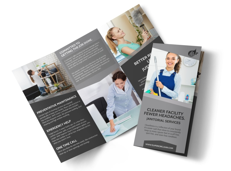 Janitorial Tri-Fold Brochure Template Preview 4