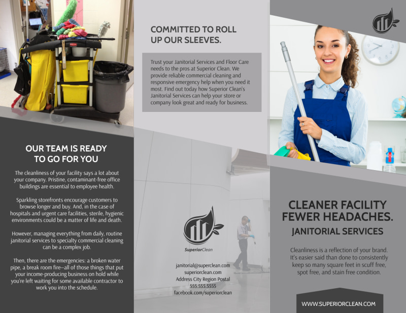 Janitorial Tri-Fold Brochure Template Preview 2