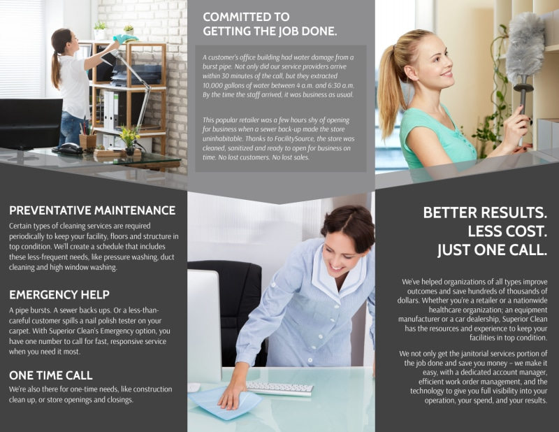 Janitorial Tri-Fold Brochure Template Preview 3