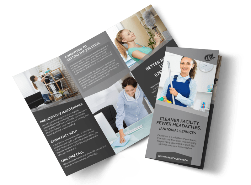 Janitorial Tri-Fold Brochure Template Preview 1