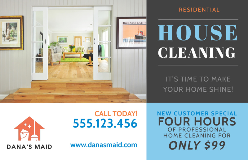 Residential House Cleaning Postcard Template Preview 2