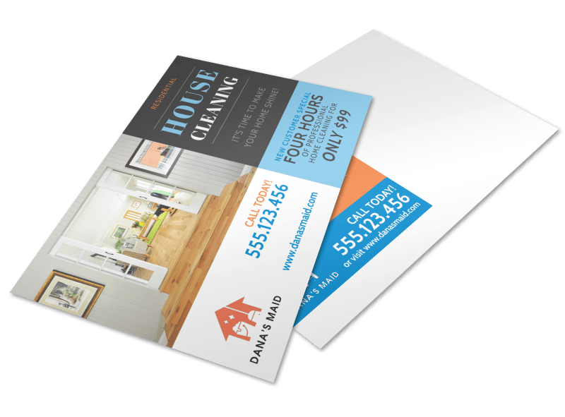 Residential House Cleaning Postcard Template Preview 1