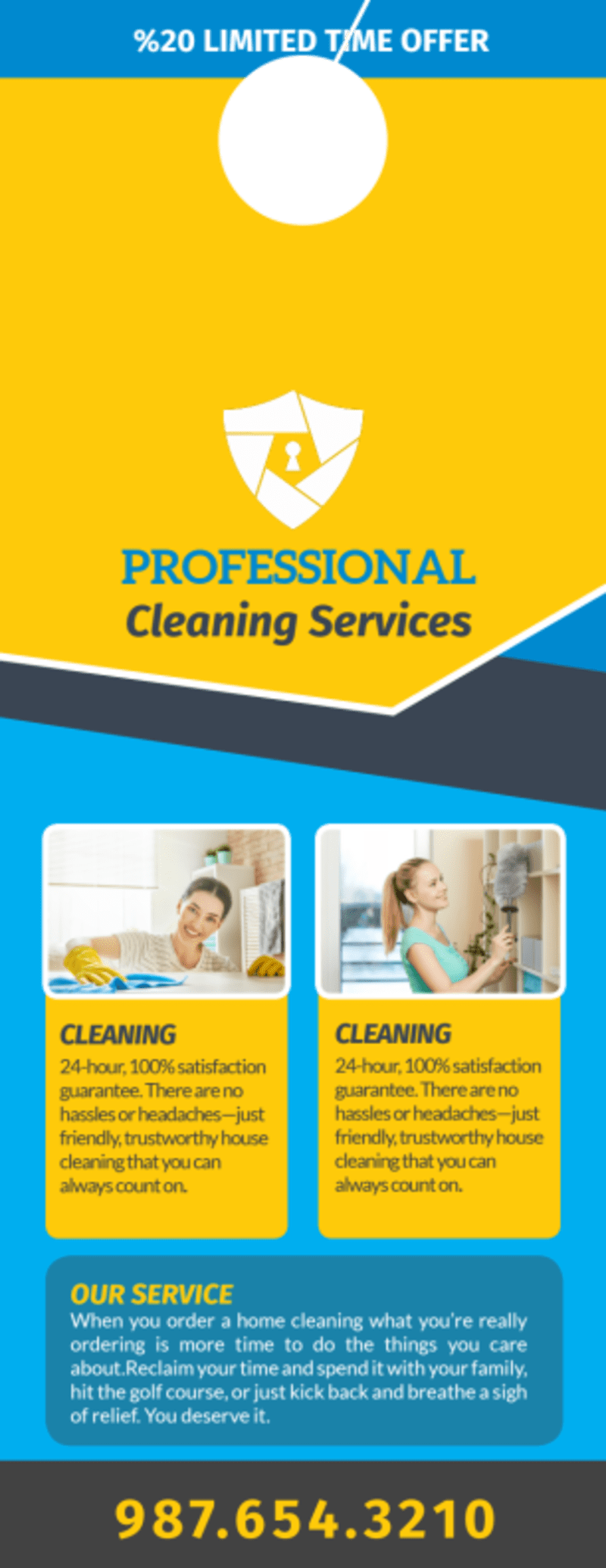 Professional Cleaning Service Door Hanger Template Preview 3