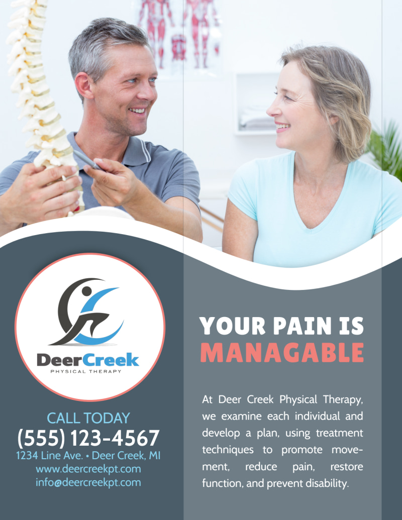 Deer Creek Physical Therapy Flyer Template Preview 3