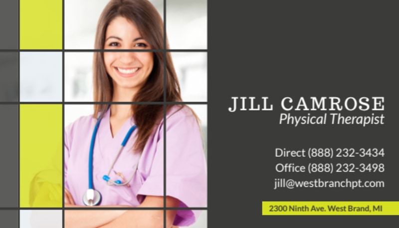 Camrose Physical Therapy Business Card Template Preview 2