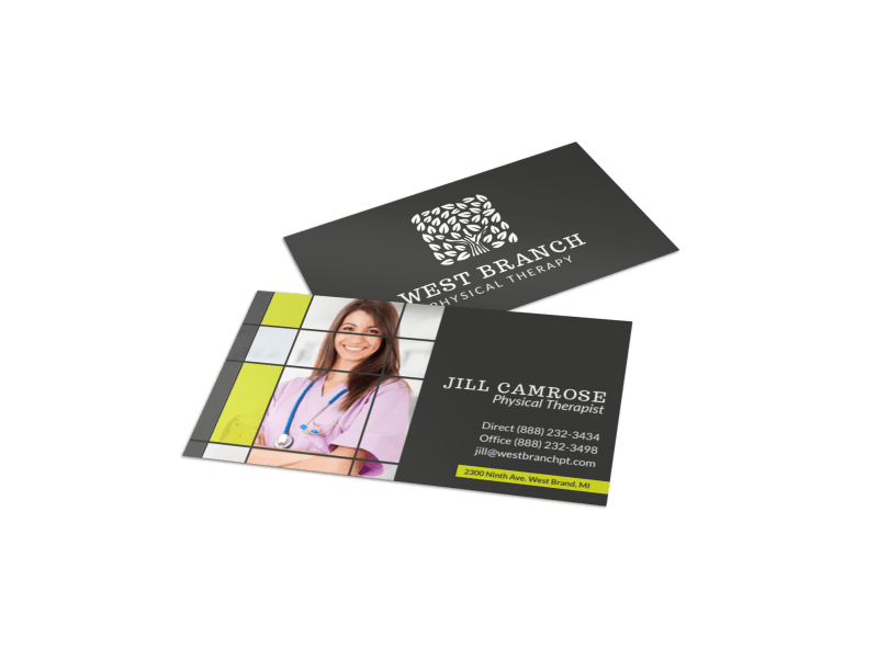 Camrose Physical Therapy Business Card Template Preview 1