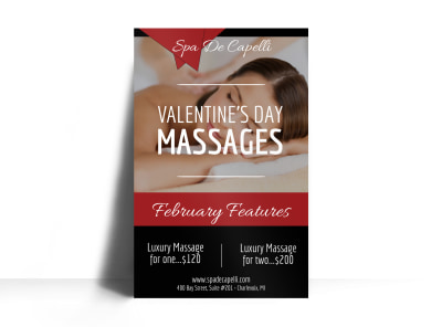 Valentine's Day Massage Poster Template preview
