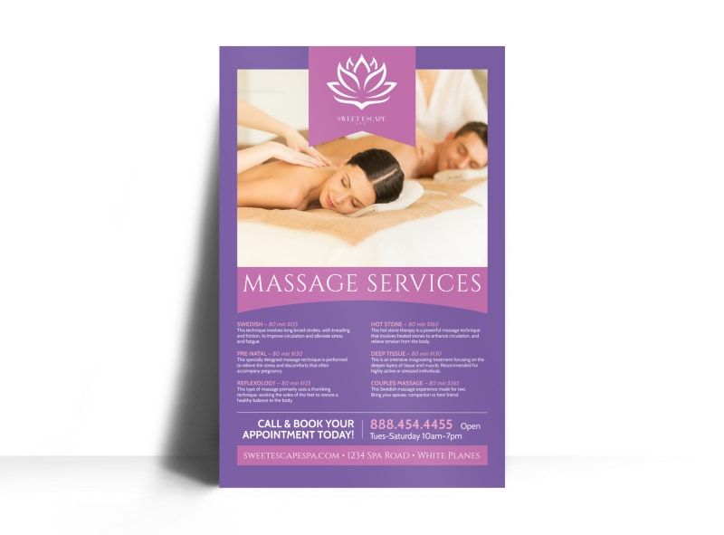 Massage Services Offered Poster Template