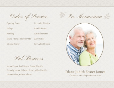 Memorial Service Funeral Program Bi-Fold Brochure Template Preview 1