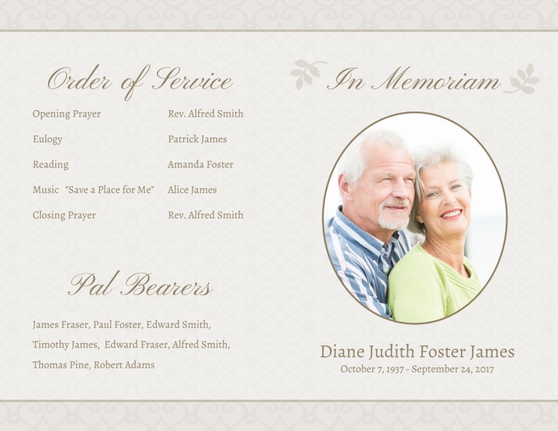Memorial Service Funeral Program Bi-Fold Brochure Template Preview 2