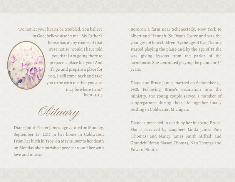 Memorial Service Funeral Program Bi-Fold Brochure Template Preview 3