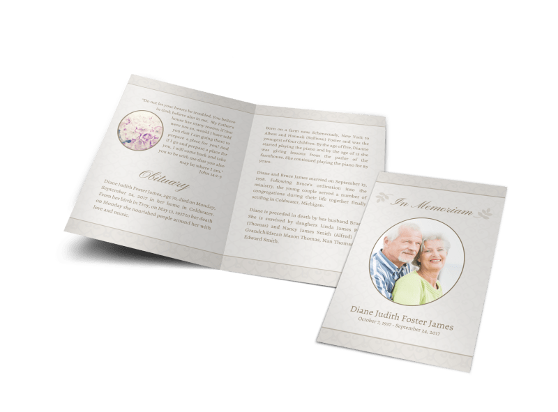 Memorial Service Funeral Program Bi-Fold Brochure Template Preview 1