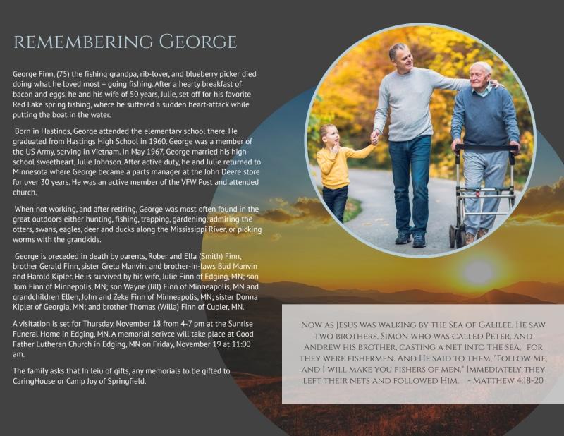 Obituary Bi-Fold Brochure Template Preview 3
