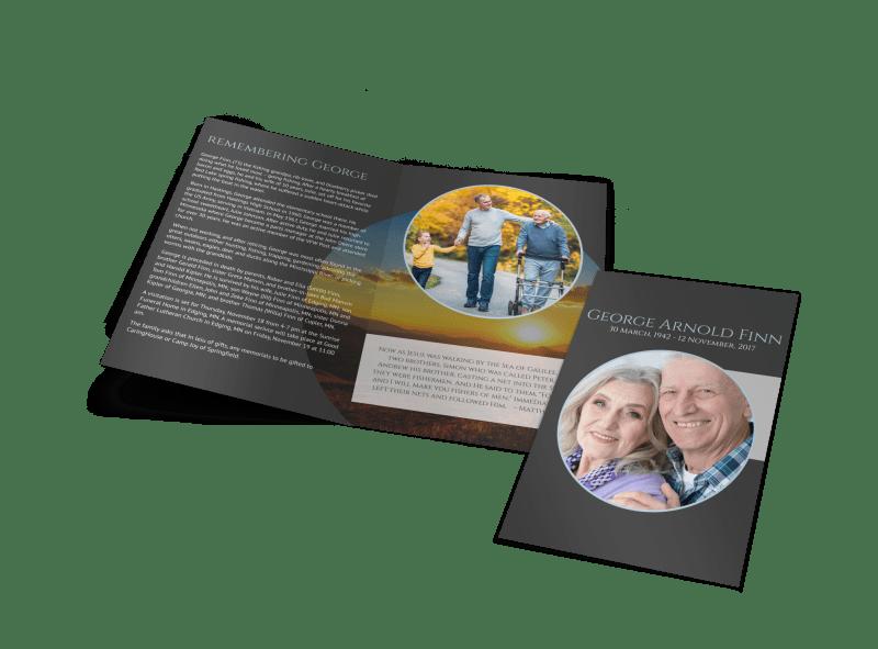Obituary Bi-Fold Brochure Template Preview 1