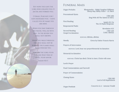 Catholic  Funeral Program Bi-Fold Brochure Template Preview 2