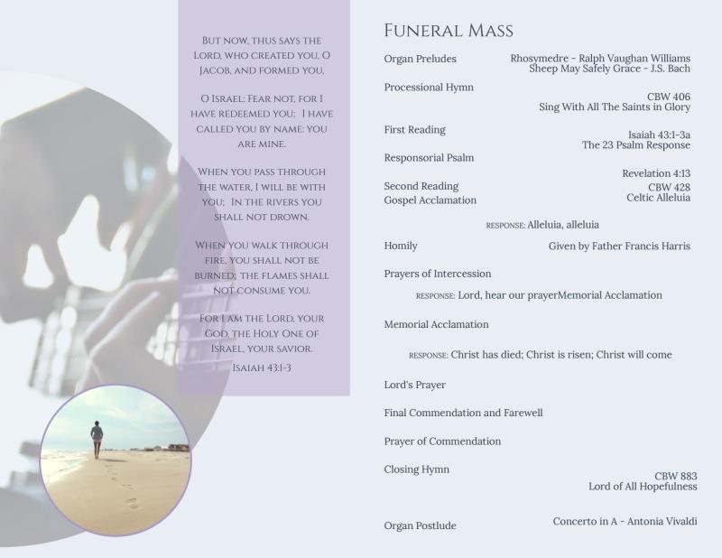 Catholic  Funeral Program Bi-Fold Brochure Template Preview 3