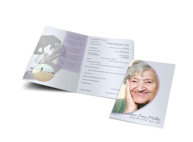 Catholic  Funeral Program Bi-Fold Brochure Template